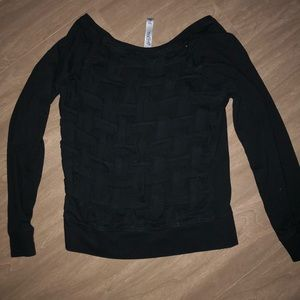 LORNA JANE caged black long sleeve top